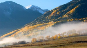 Misty mountain vista in Marble, Colorado, photo taken by Gary Hubbell, an animal wrangler and Colorado production location scout